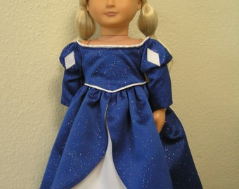 Princess Gown in Sparking Navy Blue and White Satins for American Girl or Other 18-inch Dolls