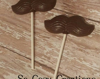 Chocolate Mustache Lollipops - Dark Chocolate! Great Party Favors, Photo Prop Fun! Made with Artisan Chocolate & fresh to order! 12