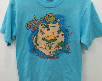Vintage 90's Gran Canaria Islas Beach Map Blue CartoonClassic Design Shirt Size M #B43