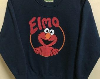 Vintage 90's Elmo Sesame Street Dark Blue Cartoon Classic Design Skate Sweat Shirt Sweater Varsity Jacket Size S #A310