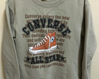 Vintage 90's Converse All Star Chuck Taylor 1908 Brown Classic Design Skate Sweat Shirt Sweater Varsity Jacket Size M #A392