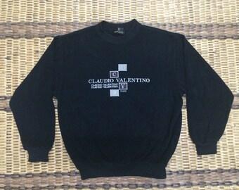 Vintage 90's Claudio Valentino Sport Classic Design Skate Sweat Shirt Sweater Varsity Jacket Size L #A562