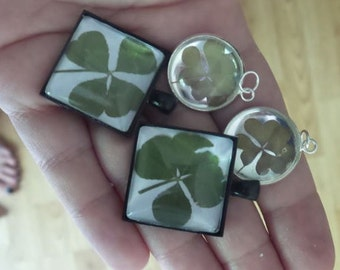 Lucky four leaf clover - Clover - Lucky - Pendent -Irish - Real 4 leaf clover