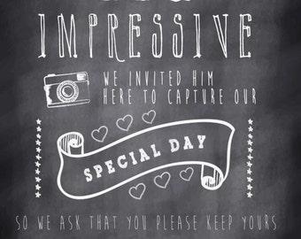 Male Photographer Unplugged wedding sign! Vintage chalk effect no cameras/phones reception sign! Digital download.