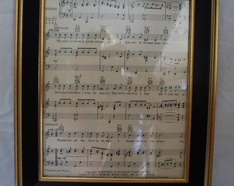 Vintage Framed Sheet Music Gold Trimmed Frame