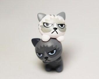 Miniature Resin Cat, Grumpy Feline, Fairy Garden Miniatures, Miniature Gardens, Dollhouse Miniatures, Grey Tabby