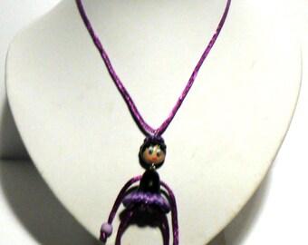 Necklace sautoir Pankaj paste black and purple polymer