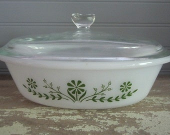 Vintage Glassbake Oval Casserole Dish With Lid Vintage Kitchen