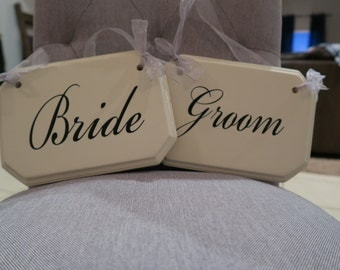 Bride & Groom Chair Signs - Wedding Chair Signs - Bride and Groom - Wedding Sign