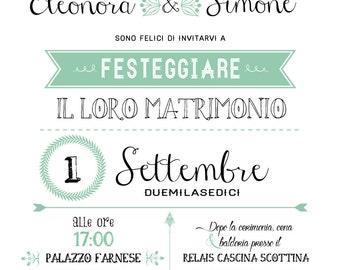 Wedding invitations Kit, tableau de marriage and honeymoon