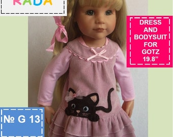 2in1 Dress and body suit pattern for 18 inch dolls (for Gotz, or similar measurements doll
