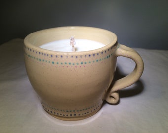 Soy Wax Candle in handmade Ceramic Cup