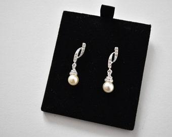 Silver Bridal Pearl Drop Diamond Earrings