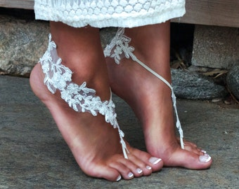 IVORY Lace Barefoot Sandals, LAUREN, Cream Lacy Footwear, Stretch Elastic Slip On Flip Flops for Bare Feet, Outdoor Wedding, Romantic Style