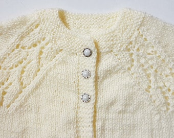 Handmade Hand Knitted Light Yellow Color Sweater/cardigan for  3-6 months