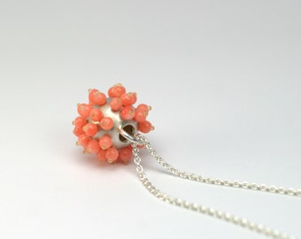 Sea urchins - charm 925 Silver with coral