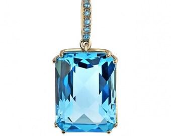 14k GOLD blue topaz pendant, jewelry pendant