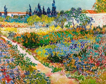 Vincent van Gogh 1889, Garden at Arles, HD Canvas Print or Art Print, Artwork Wall Poster Impressionism Print on Canvas Van Gogh Flowers
