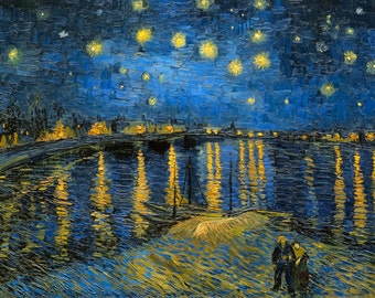 Vincent van Gogh 1888, Starry Night over Rhone, HD Canvas Print or Art Print, Artwork Wall Poster Impressionism Print on Canvas Van Gogh