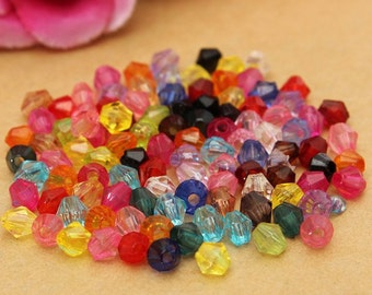 Crystal Beads - 100pcs - 4mm - Mixed Color Beads -  Bicone Beads - Loose Beads - Jewelry Making - Jewelry Art - Beading DIY - Free Shipping