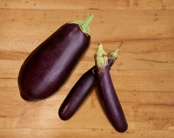Three Organic Eggplants Still Life Photography Kitchen Decor Purple Green Wood