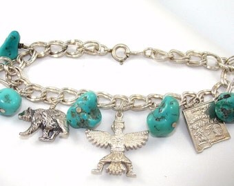 Vintage Sterling Silver Southwestern Santa Fe Double Chain Link Charm Bracelet