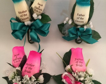 Personalized Mother & Father of the Bride and Groom Wooden Rose Corsage and Boutonniere