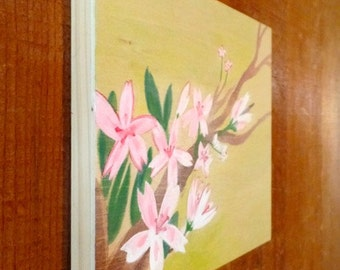 Blossoms on Panel, ORIGINAL PAINTING on WOOD, Spring Flower