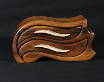 Walnut and Curly Maple Sculpted Bandsaw  Jewelry Box (Airborne)