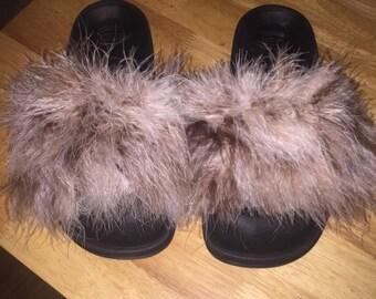 Fluffy slides, sandals, slipons