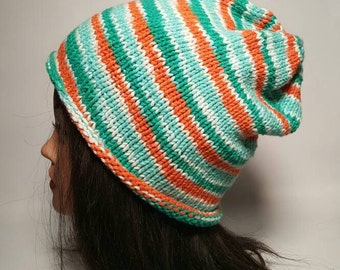 Knitted White, Blue, Teal, and Orange Slouchy Beanie Hat