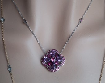 14k Gold Amethyst Pink Sapphire Pendant Necklace 8.2 Grams