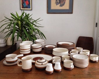 57 piece set of vintage Denby Stoneware dinnerware