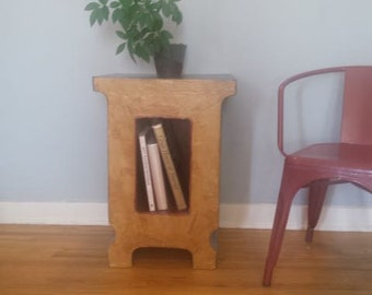 Blue end table, dark blue side table, tan end table, lamp table, tan and blue table with book nook, urban modern book storage