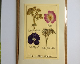 Handmade Pressed Flower Card 'The Cottage Garden' Design