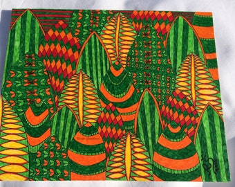 Markers drawing, Markers art, Stabilo, Sharpie, Abstract drawing, Green landscape, colorful, Deatails, 9x11 in