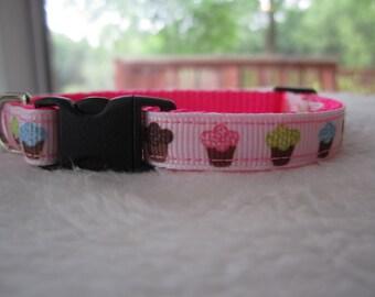 Cupcake Dog Collar - X-Small Collar - Neon pink, green, blue
