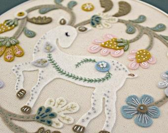 Embroidery Felt Art - Wall Hanging - Needlepoint Textile Art Original wool felt embroidery handmade deer. Free shipping