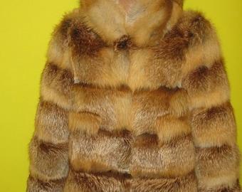 Fox fur coat with a hood,fur coat, fox fur coat. Handmade.