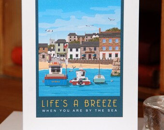 Greetings Card of Boats at the Seaside, Life's a Breeze! (Card ID: WOS117)