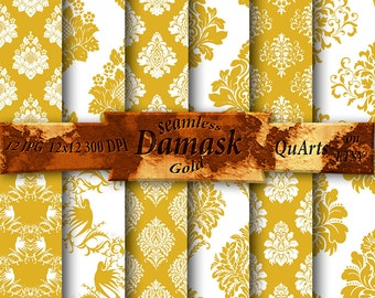 Gold Damask Digital Paper Set - Printable Backdrops for Scrapbook Design - Instant Download -  golden damask - 12x12 QuartCrafts