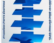 Chevy Bowtie Decals Custom Handmade 4PC Set Metallic Blue Mirror Chrome Logo 3M Adhesive High Quality Universal Decals Windows Doors Pillar
