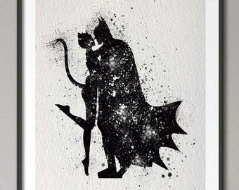 Watercolor Batman and Catwoman Canvas Print - no frame