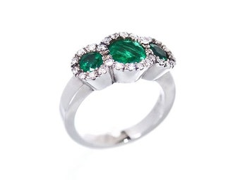 Trilogy with emeralds, rubies or sapphires and diamonds