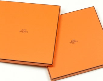 Auth PAIR (2) of empty HERMES BOXES for standard 90cm Scarf/Scarves Excellent Condition w/ Tissue