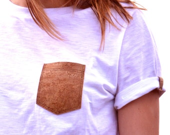 Cork and cotton tshirt-cork & slub cotton Made in Sardinia Italy