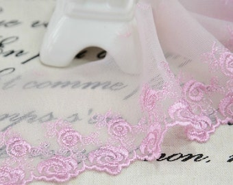 "20 yard 6.5cm 2.55"" wide pink/ivory mesh embroidery lace trim trims ribbon L22K144 free ship"