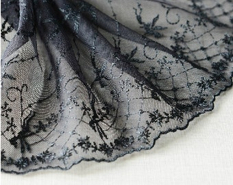 "5 yard 18cm 7.08"" wide black mesh embroidery lace trim trims ribbon L22K146 free ship"