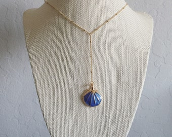 Delicate 18' rose gold plated blue seashell lariat necklace (nicklfree)