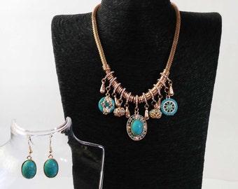 Gold Turquoise Bohemian Set, Boho Turquoise Necklace, Boho Turquoise Earrings, Boho Gold, Jewellery
